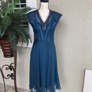 Komarov Sleeveless Teal Dress Embellished Neckline